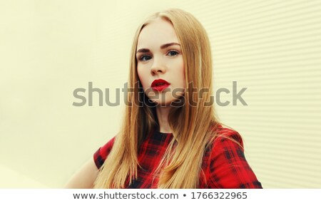 image closeup of european trendy woman 20s wearing red dress and stock photo © deandrobot