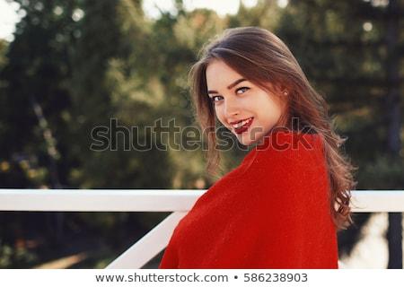 Foto stock: Belo · sorridente · mulher · jovem · batom · vermelho · beleza · compensar