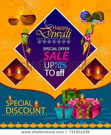 diwali festival sale banner with rocket cracker Stock photo © SArts