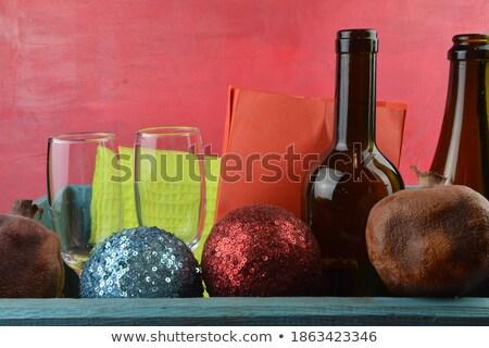 Vörösbor üveg dugóhúzó karácsony ajándék fekete Stock fotó © dash