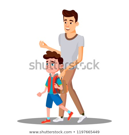Father Leads To School Child Boy In New School Year Vector. Isolated Illustration Stock photo © pikepicture