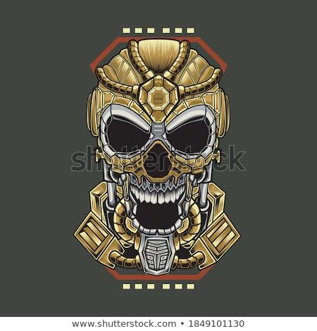 Kwaad goud robot cartoon illustratie naar Stockfoto © cthoman