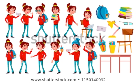 Girl Schoolgirl Kid Poses Set Vector. High School Child. School Student. Cheer, Pretty, Youth. For P Stock photo © pikepicture