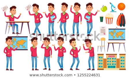 boy schoolboy kid poses set vector high school child teenage book workspace board for web bro stock photo © pikepicture