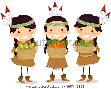 stickman kids girls native american harvests stock photo © lenm