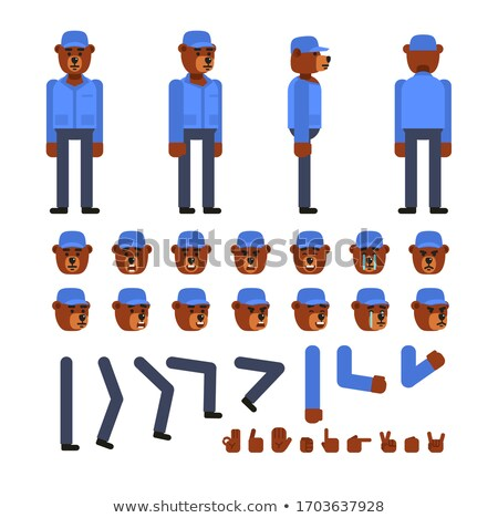 Cartoon colère travailleur de la construction ours regarder Photo stock © cthoman