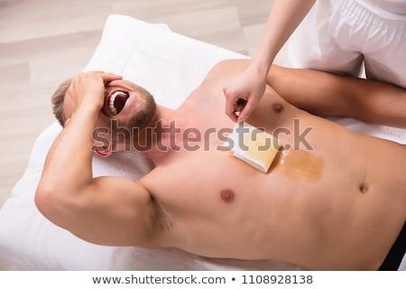Férfi sikít gyantázás mellkas közelkép fiatalember Stock fotó © AndreyPopov