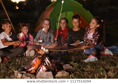 children camping at night stock photo © bluering