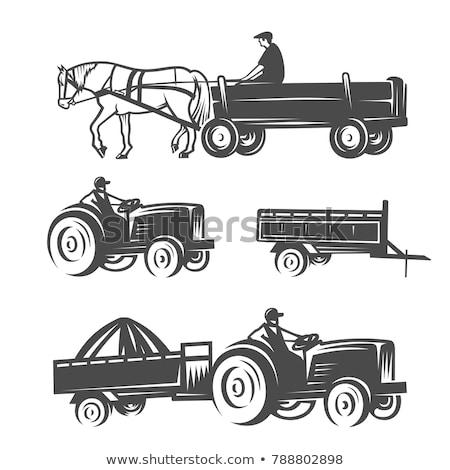 Farmer riding wagon in the farm Stock photo © colematt