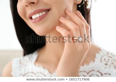 csinos · nő · visel · vörös · ruha · fehér · szépség · fekete - stock fotó © deandrobot