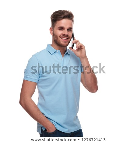 portrait of relaxed man in polo shirt speaking on phone Stock photo © feedough