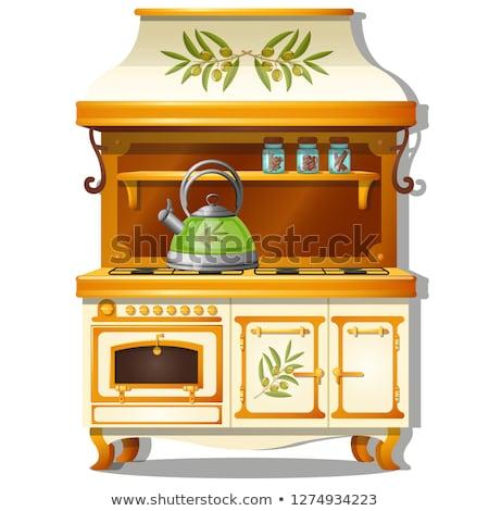 cozinha · desenho · animado · vetor · clássico · casa · sala · de · jantar - foto stock © lady-luck