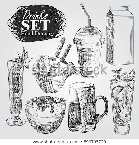 различный · коктейли · эскиз · кофе · коктейль · окрашенный - Сток-фото © arkadivna