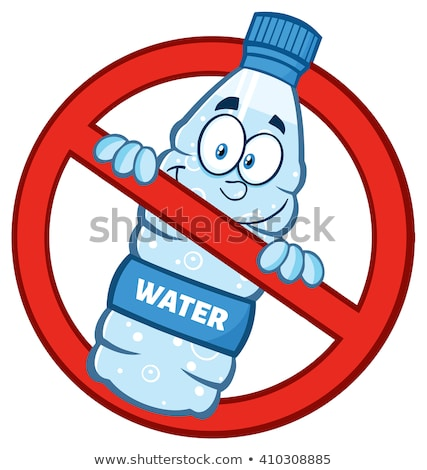restricted symbol over a water plastic bottle cartoon mascot character stock photo © hittoon
