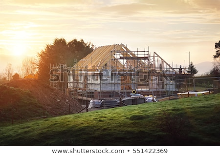 új otthon építkezés kék ég felhők struktúra senki Stock fotó © brianguest