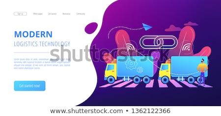Camion atterrissage page camions connectivité Photo stock © RAStudio