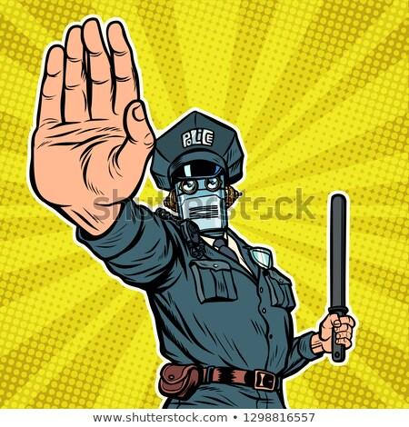 retro · poliziotto · stop · gesto · pop · art · legge - foto d'archivio © studiostoks
