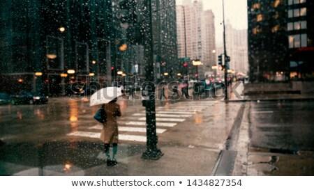 azul · coche · sedán · urbanas · carretera · paisaje - foto stock © colematt
