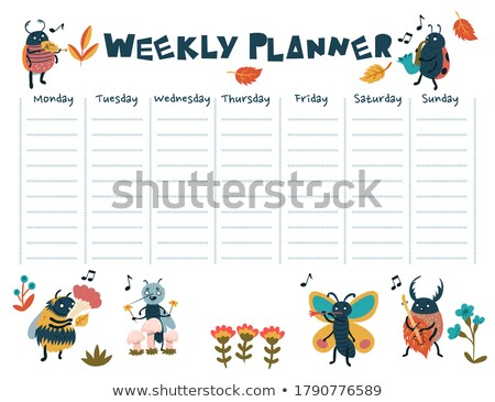 Days of the week banner template with colorful bugs Stock photo © colematt
