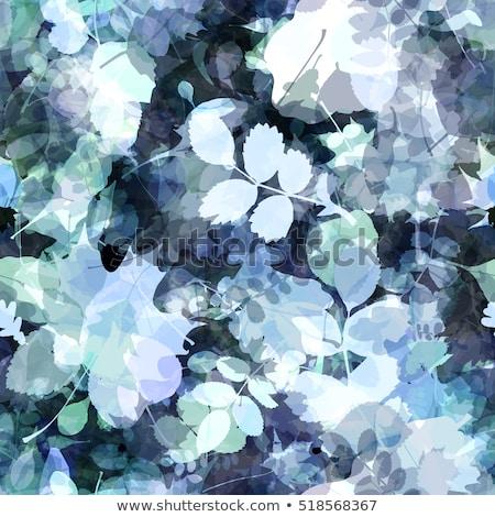 Monokróm végtelenített vektor minta kék levelek Stock fotó © Pravokrugulnik