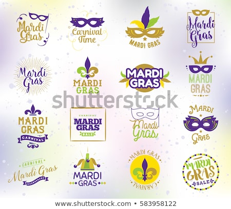 mardi gras carnival fat tuesday lettering text greeting card stock photo © orensila
