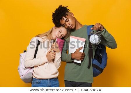 foto · sonolento · estudantes · homem · mulher - foto stock © deandrobot