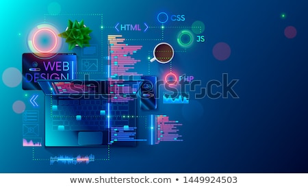 conception · de · site · web · portable · écran · 3d · illustration · atterrissage - photo stock © mazirama