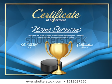 Ice Hockey Certificate Diploma With Golden Cup Vector. Sport Award Template. Achievement Design. Hon Stock photo © pikepicture