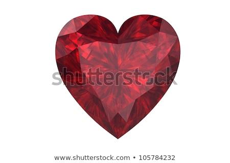 Robijn hart 3D diagonaal schaduw afbeelding Stockfoto © AnatolyM