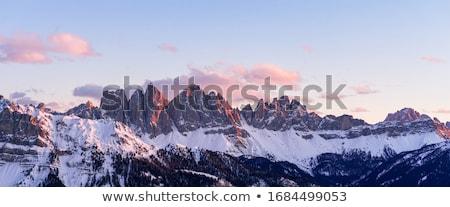 Hegyek fedett hó naplemente hosszú expozíció felhő Stock fotó © frimufilms