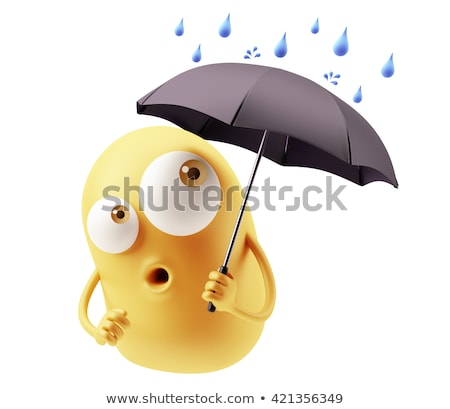 Blue Water Drop Cartoon Character Holding An Umbrella Stock photo © hittoon