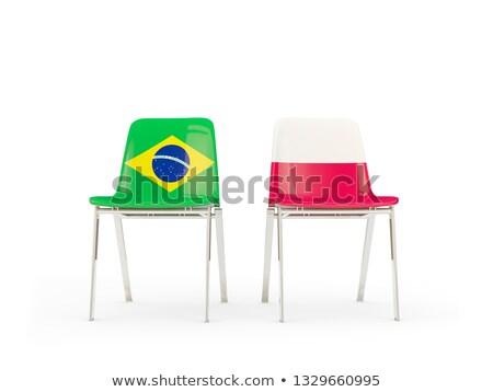 два стульев флагами Бразилия Польша изолированный Сток-фото © MikhailMishchenko