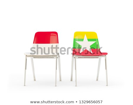 Two chairs with flags of Indonesia and myanmar Stock photo © MikhailMishchenko