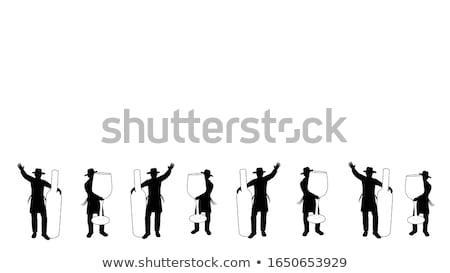 Jewish man holding banner isolated on white background vector   Stock photo © NikoDzhi