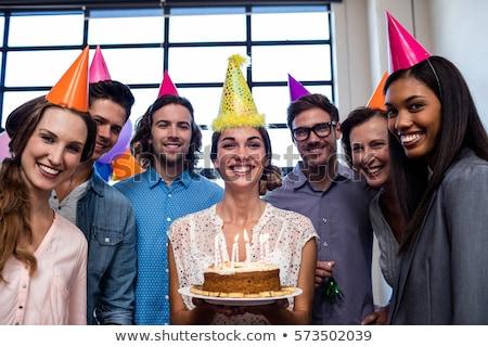 Felice torta ufficio festa di compleanno corporate Foto d'archivio © dolgachov