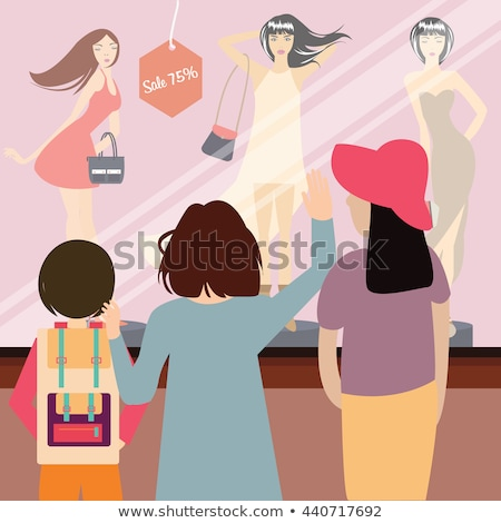 Woman Looking at Showcase with Mannequins Vector Stock photo © robuart