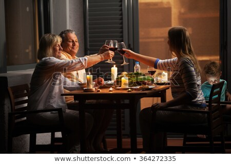 Grandparent and Grandson in Evening Night at Home Foto stock © robuart