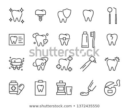 Dental bactérias linha ícone vetor isolado Foto stock © smoki