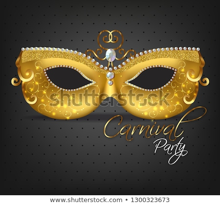 Golden mask with feathers Vector realistic. Stylish Masquerade Party. Mardi Gras card invitation. Ni Stock photo © frimufilms