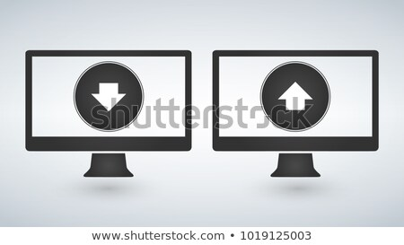 Two computers with Download and upload buttons useful for web de Stock photo © kyryloff