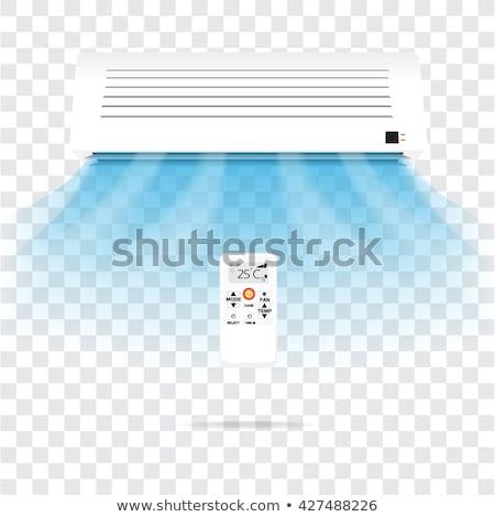 ストックフォト: 空調装置 · 冷たい · 空気 · 白 · レンガの壁