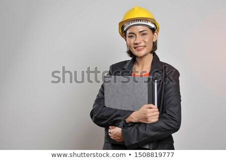 engenheiro · blueprints · feminino · edifício · isolado - foto stock © elnur