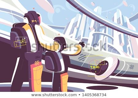 Emberek jövő apa fia futurisztikus taxi stílus Stock fotó © jossdiim