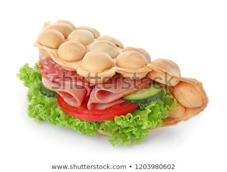 Szendvicsek füstölt kolbász házi készítésű sózott uborkák Stock fotó © Melnyk