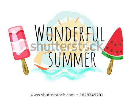 Wonderful Summer Poster with Two Ice Cream and Sun Stock photo © robuart