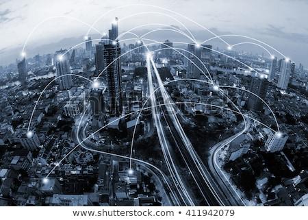 Blauw netwerk gegevens cirkels eps Stockfoto © limbi007