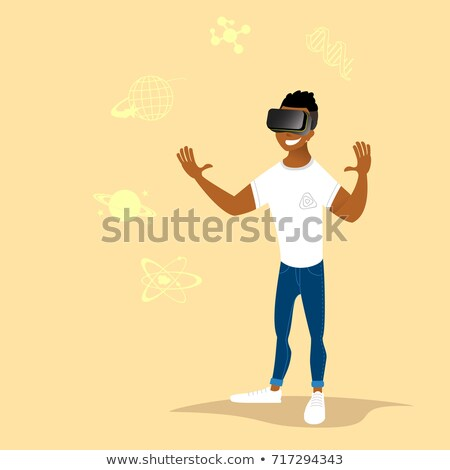 man · virtueel · realiteit · hoofdtelefoon · spelen · video · game - stockfoto © lenm