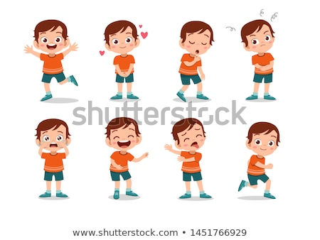 happy boy cartoon character with glasses Stock photo © izakowski