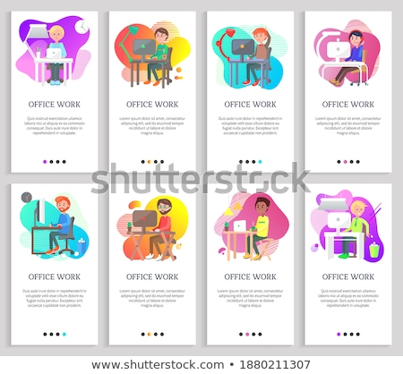 Office Work, Man and Woman Sitting by Table Slider Stock photo © robuart