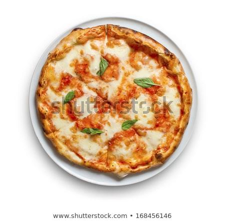 Pizza mozzarella paradicsomszósz friss bazsalikom magas Stock fotó © serdechny